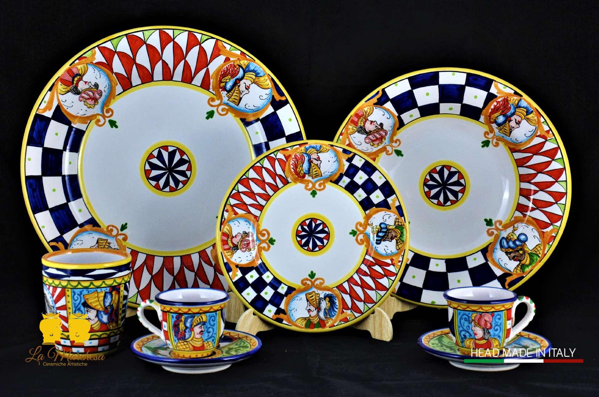 Piatti Ceramica Di Caltagirone.Servizio Piatti Carretto 24 Pz La Marchesa Ceramiche Artistiche