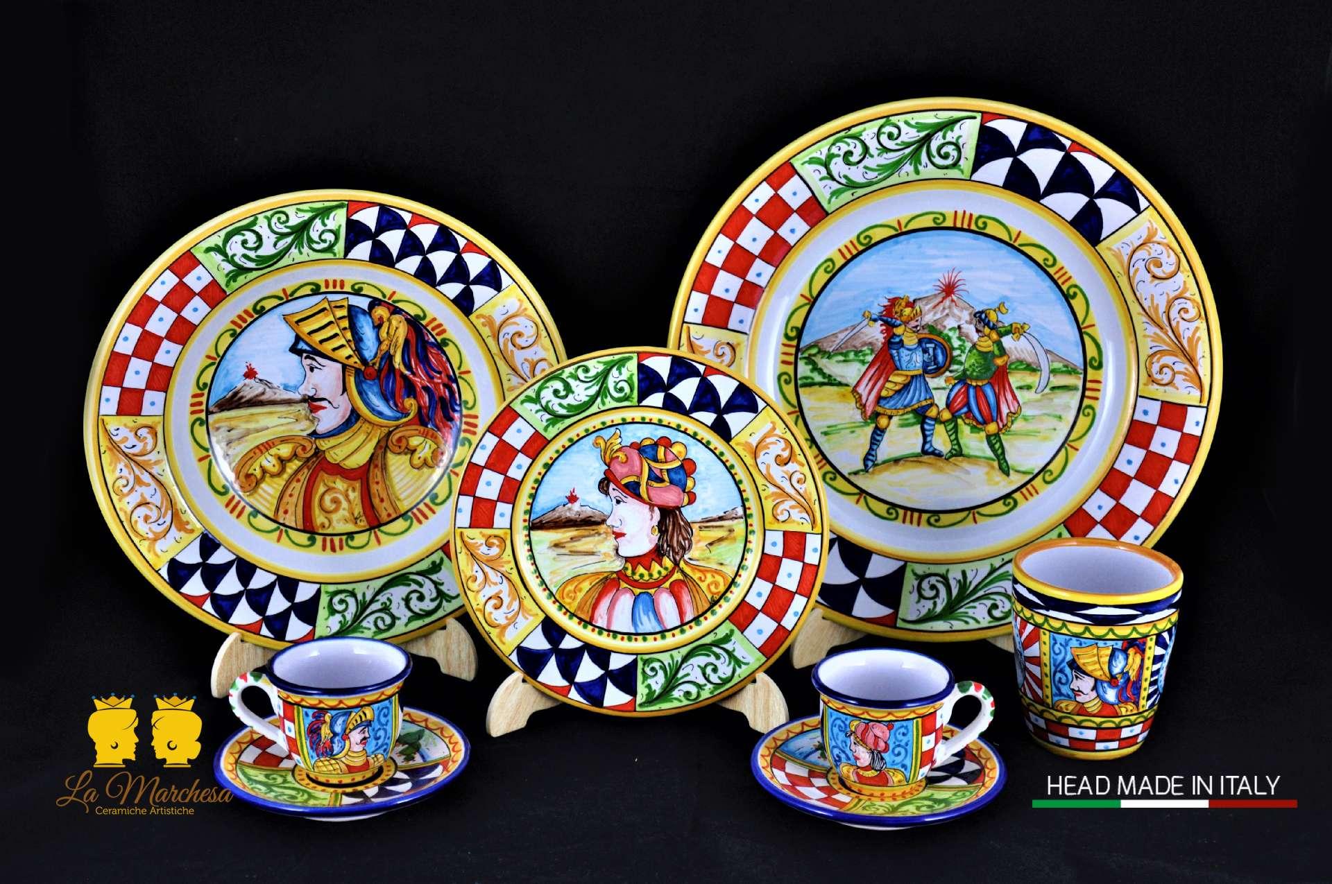 Piatti Ceramica Di Caltagirone.Servizio Piatti Paladini Siciliani 36 Pz La Marchesa Ceramiche