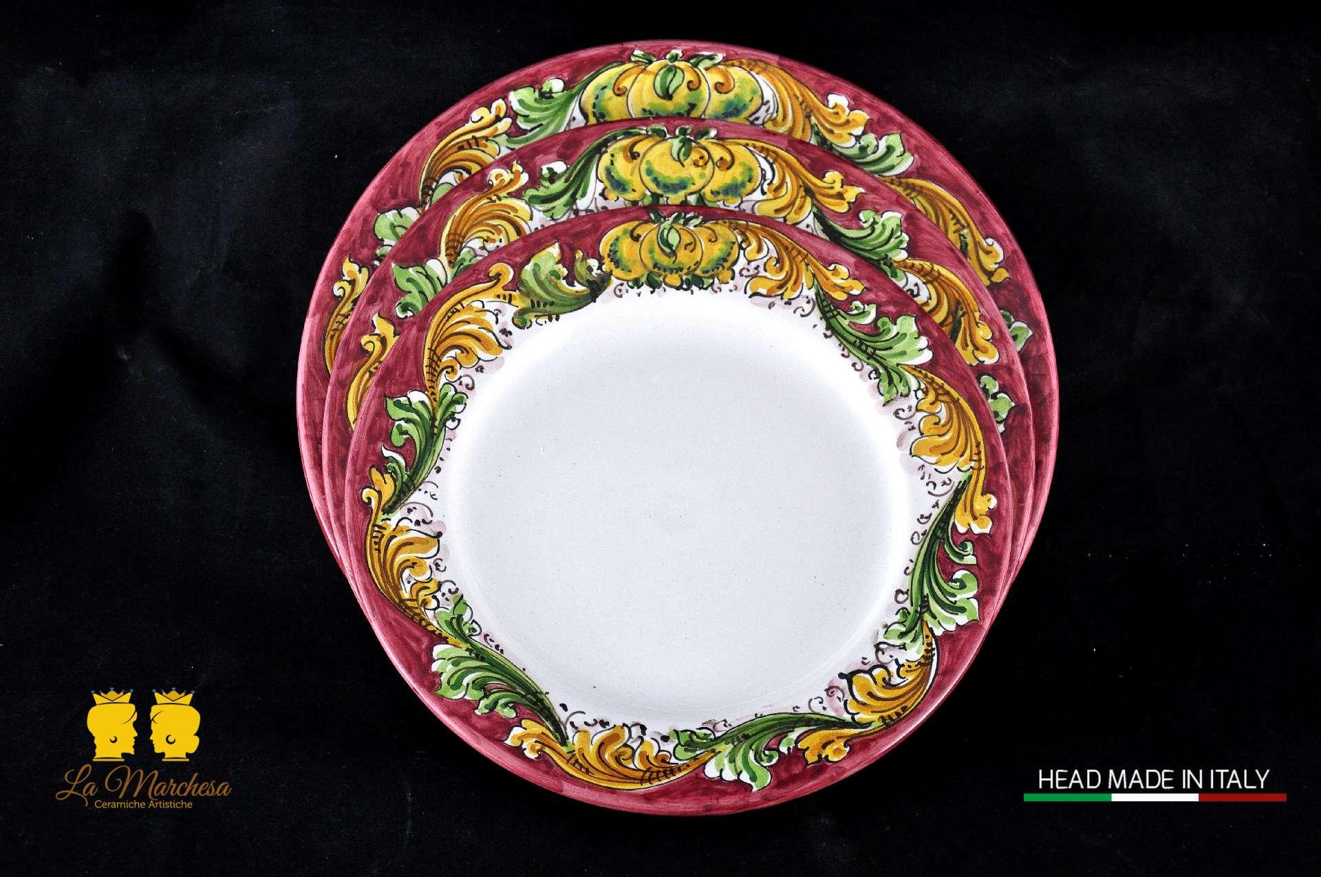 Piatti Ceramica Di Caltagirone.Servizio Piatti Ornato 12pz La Marchesa Ceramiche Artistiche