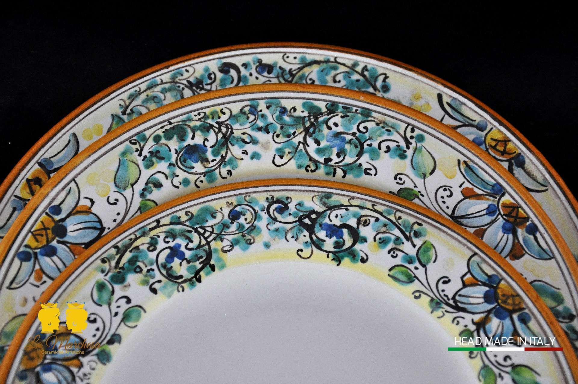 Piatti Ceramica Di Caltagirone.Servizio Piatti 600 18pz La Marchesa Ceramiche Artistiche
